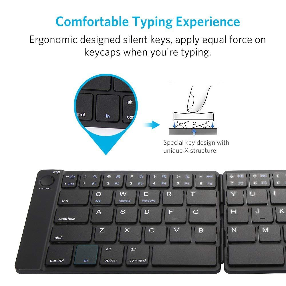 Bluetooth Keyboard, Moreslan Foldable Wireless Keyboard for Android Windows IOS Laptop Tablet Smartphone and More, Ultra-Slim Portable Pocket Sized Keyboard with Built-in Rechargeable Battery by Moreslan (Image #3)