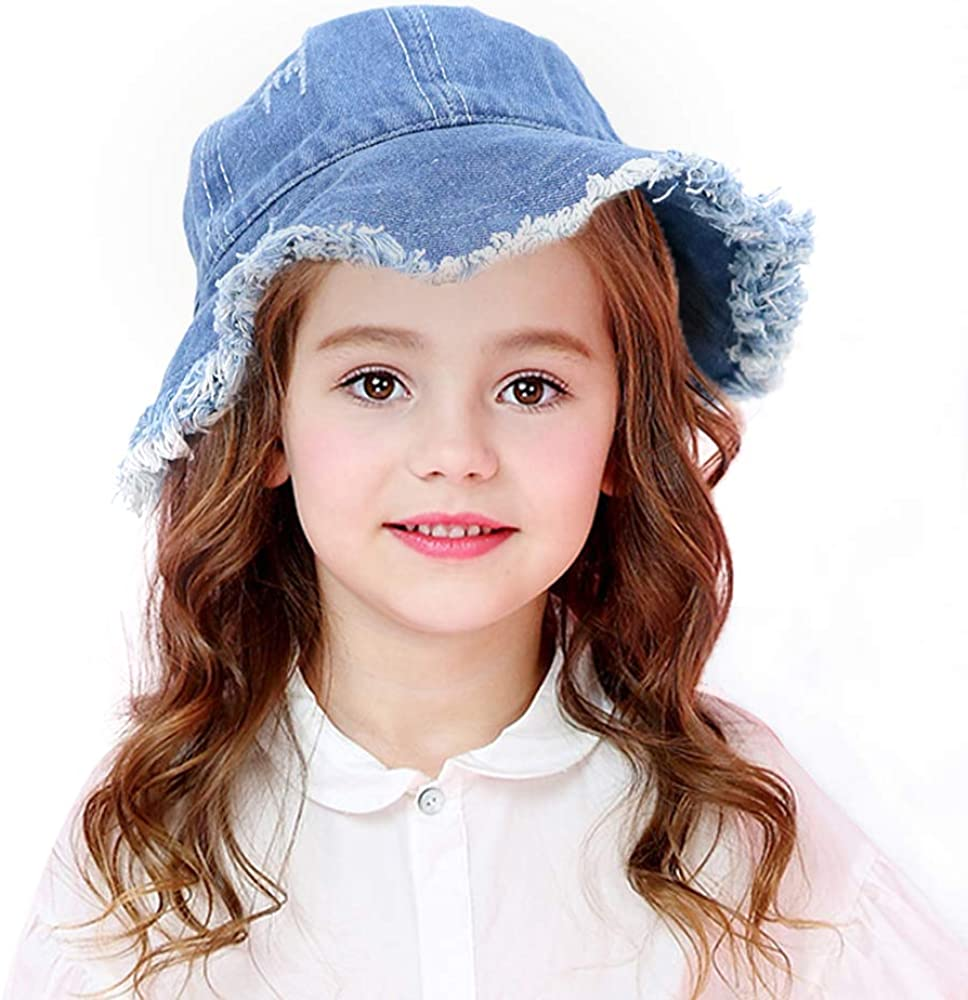 Etncy Life Kids Sun Hat Denim Cotton Bucket Hat for Boys and Girls 3-7 Years Old
