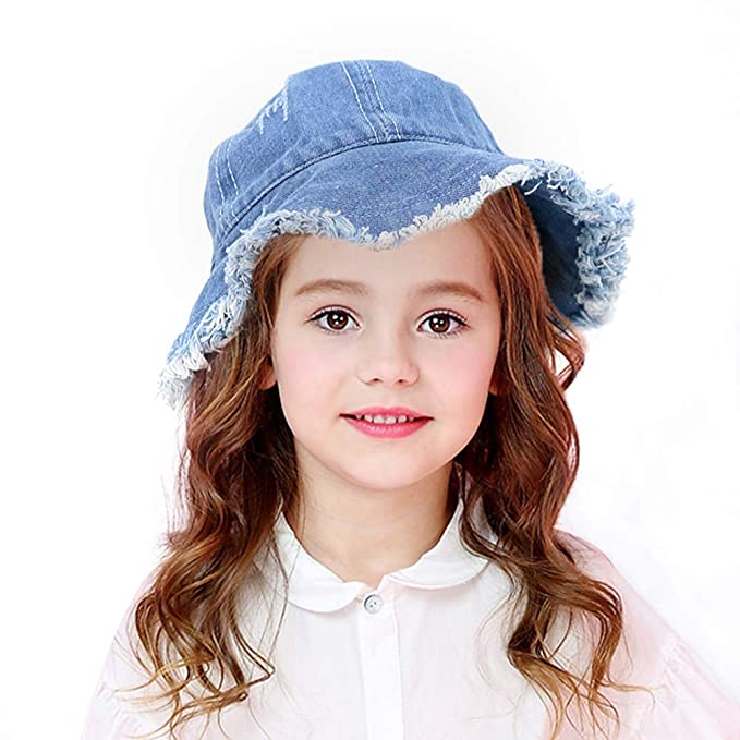 Etncy Life Kids Sun Hat Denim Cotton Bucket Hat for Boys and Girls 3-7 Years Old Blue