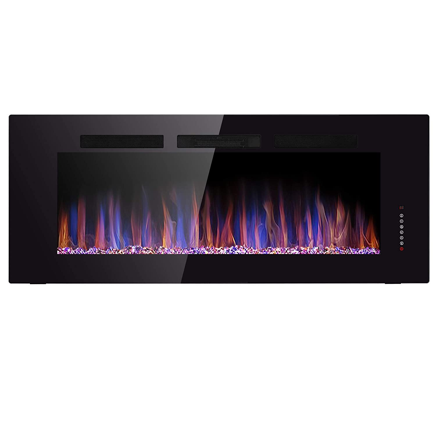 JAMFLY 60 Recessed Electric Fireplace in Wall Mounted Linear Fireplace Insert 750 1500 W Heater Touch Screen Remote Control, Adjustable Flame Speed with Crystal Hearth