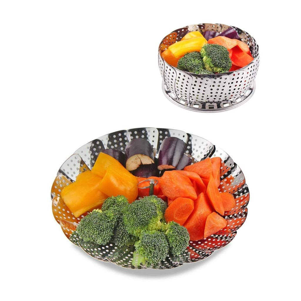 Collapsible Steamer Basket Fits Any Size Pot To Make Cooking Quick Easy And Convenient Vegetable Steaming Baskets Made From Dependable Stainless Steel That Cleans Easy Lasts For Years ( Color : 4PCS ) by QBYLYG