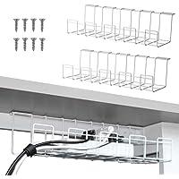 2 stuks kabelmanagementtrays, 40 cm onder bureau-kabel-organizer voor kabelbeheer, metalen kabellade voor bureaus…