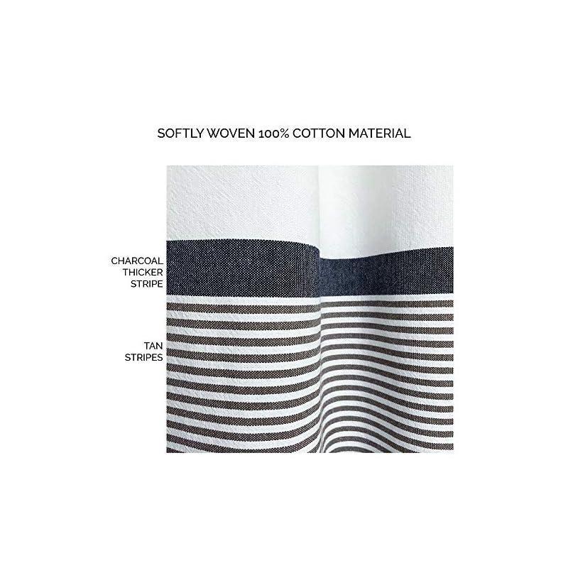 Modern Farmhouse Tassel Shower Curtain 100% Cotton Striped Fabric Shower Curtain with Tassels for Bathroom Decor, 72x72…