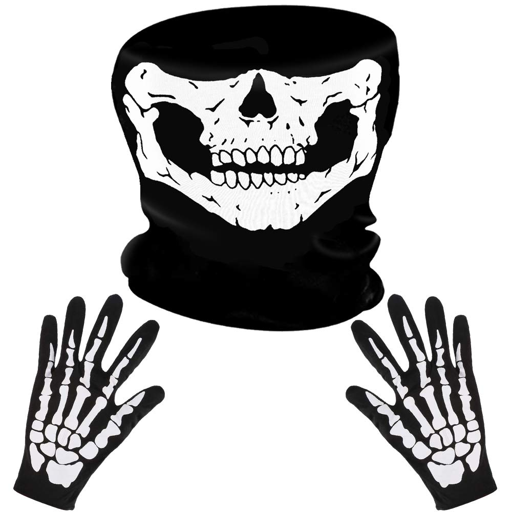 LYTIVAGEN Skeleton Gloves and Skull Face Mask, Skeleton Halloween Costume, Motorcycle Face Mask and Gloves with White Ghost Bones