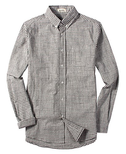 utcoco Men's Casual Buttoned Collar Relaxed Fit Long Sleeve Plaid Linen Shirt Back-Pleated (Large, (Pleated Long Sleeve Linen Shirt)