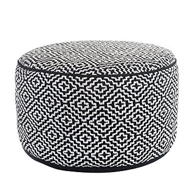 Klear Vu Maison Living Room Decorative Fabric Round Ottoman Black/White