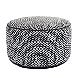 White Tufted Ottoman Coffee Table Klear Vu Maison Living Room Decorative Fabric Round Ottoman, Black/White