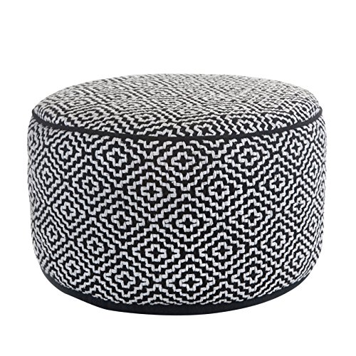 Klear Vu Maison Living Room Decorative Fabric Round Ottoman, Black/White