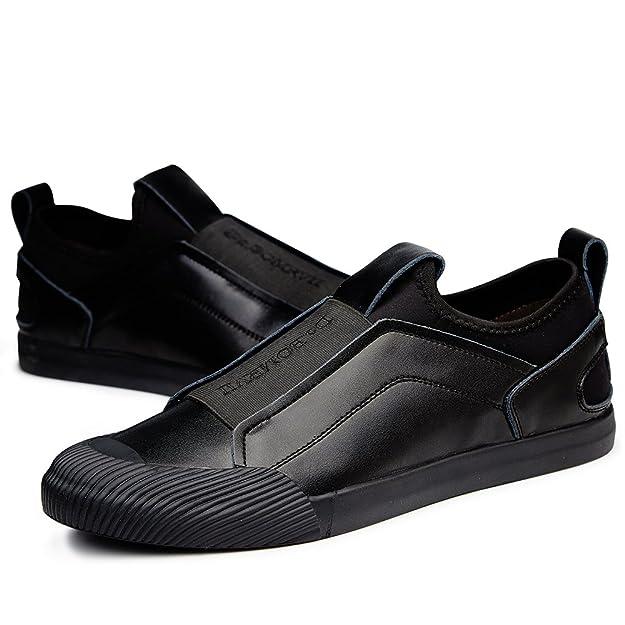 VILOCY Herren Atmungsaktiv Leder überstreifen Schuhe Mode Sneaker Halbschuhe Komfort Sport beiläufig Trainers Gold 40 5ZouQRfW