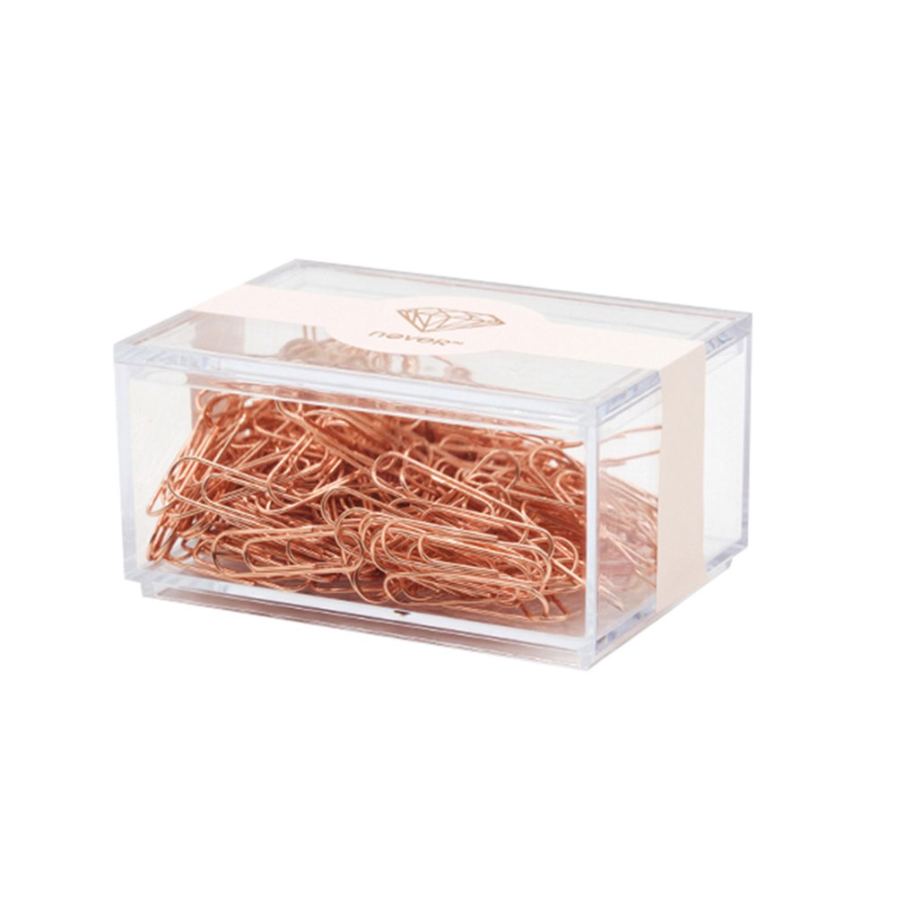 Heatleper 70pcs Rose Gold Paper Clips in Square Acrylic Paper Clip Holder for Office School Supplies Desk Organizer - 50mm
