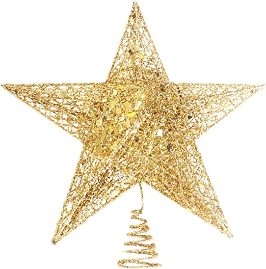 Decorative Gold Christmas Tree Topper star for Christmas Home Office Ornament