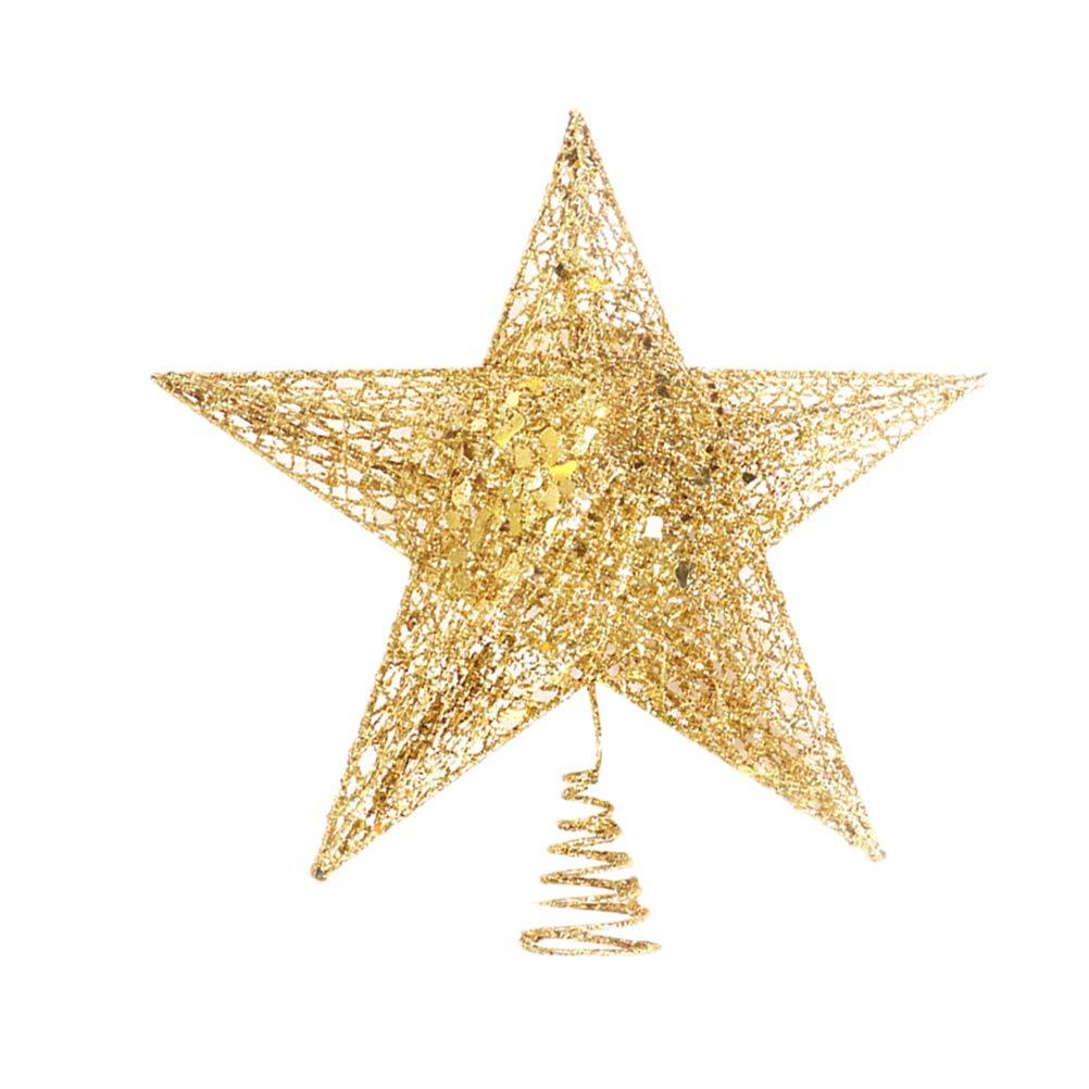 BESTOYARD Noel Scintillant noël Arbre Topper métal étoile à Cinq Branches décorations d'arbre de Noël Arbre Home Hotel Office 12 cm