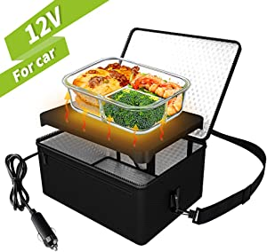 Portable Oven, 12V Car Food Warmer Portable Personal Mini Oven Electric Heated Lunch Box for Meals Reheating & Raw Food Cooking for Road Trip/Camping/Picnic/Family Gathering(Black)