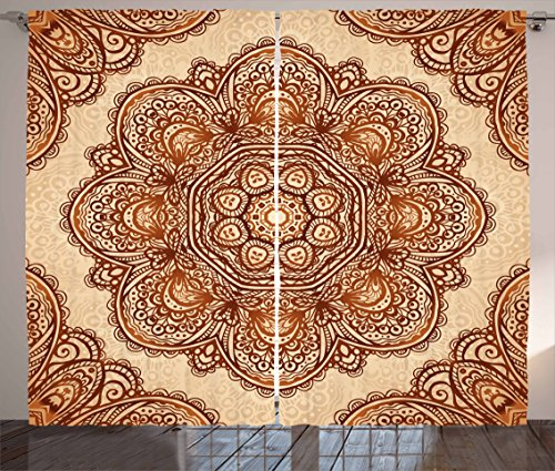 """Ambesonne Ethnic Curtains, Mehndi Style Floral Flower with Abstract Paisley Backdrop Art Print, Living Room Bedroom Window Drapes 2 Panel Set, 108"""" X 63"""", Dark Brown"""