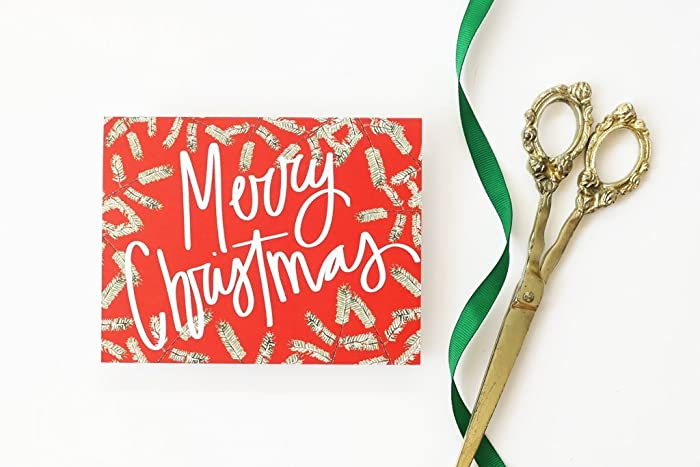 personalized christmas cards custom holiday card hand lettered merry christmas no photo card traditional holiday cards - Personalized Christmas Cards No Photo
