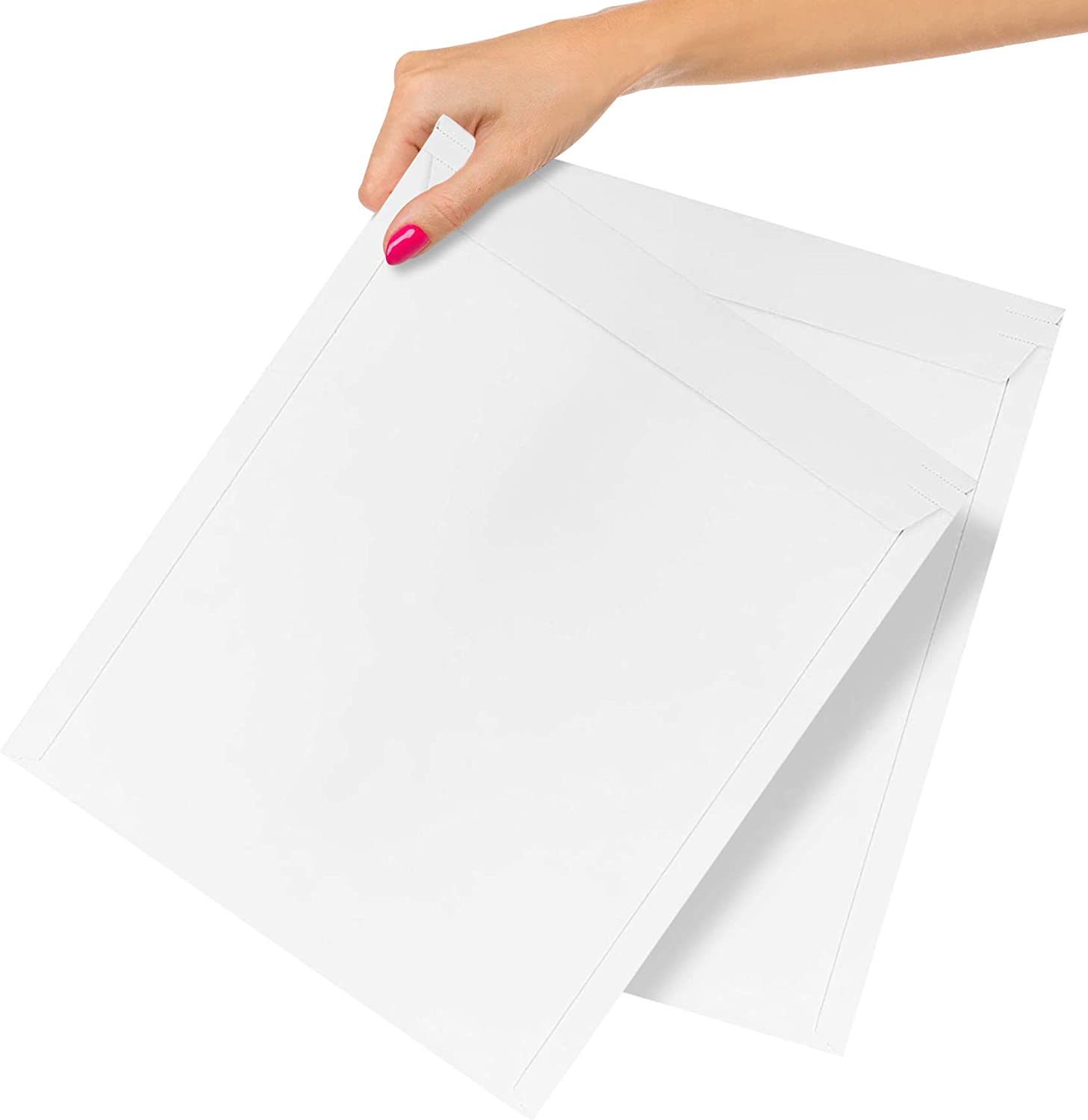 25 Pack Rigid Paperboard Mailers 12.75 x 15. Stay Flat Paperboard Envelopes 12 3/4 x 15. White Photography Mailer. Large Size. No Bend Documents, Photo, Prints. Peel and Seal.