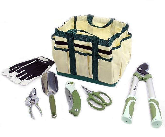 Worth 7 piezas Herramienta de jardín ergonómica juego de paleta de atención de la planta bolsa para herramientas de mano combinación y # xFF08; Y # x3001; ...