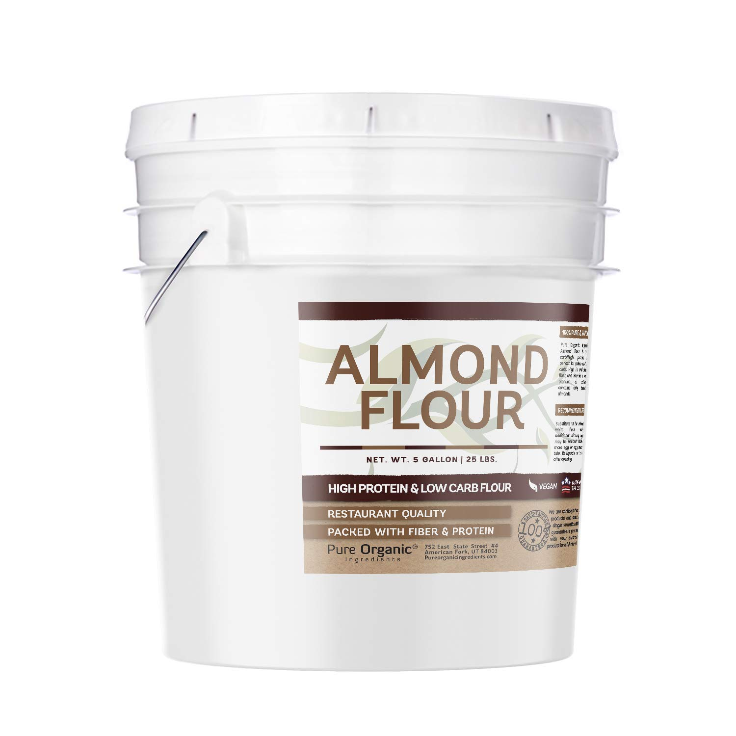 Almond Flour (5 Gallon Bucket, 25 lbs) by Pure Organic Ingredients, Gluten-Free, Blanched, Finely Ground, Vegan, Paleo & Keto Friendly, Strong Resealable Bucket (Also Available in 1 Gallon Bucket) by Pure Organic Ingredients (Image #2)