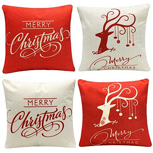 Yeahbeer 4-Pack Happy Halloween & Christmas Pillow Covers Cotton Linen Bat Pumpkin Sofa Home Decor Throw Pillow Case Cushion 18