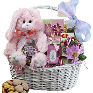 My Special Bunny Easter Gift Basket with Pink Plush Bunny Rabbit