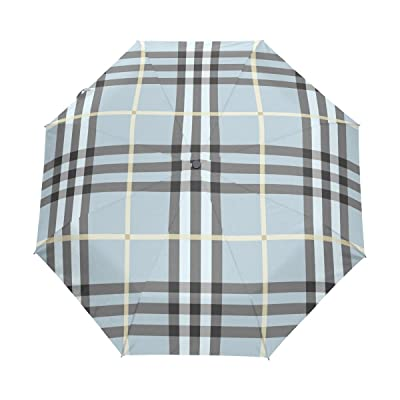 DEYYA Blue Plaid Custom Foldable Sun Rain Umbrella Wind Resistant Windproof Folding Travel Umbrella