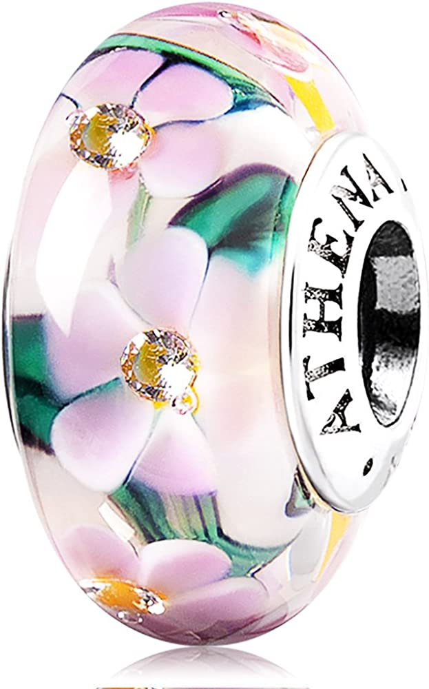 ATHENAIE Murano Glass 925 Silver Core Flower Garden Charms Bead