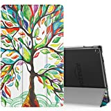 MoKo Case for All-New Amazon Fire HD 10 Tablet (7th Generation, 2017 Release) - Smart-shell Stand Cover with Auto Wake / Sleep & Translucent Frosted Back for Fire HD 10.1 Inch Tablet, Lucky TREE