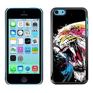 TopCaseStore / la caja del caucho duro de la cubierta de protección de la piel - Cool Awesome Fierce Neon Tiger - Apple iPhone 5C