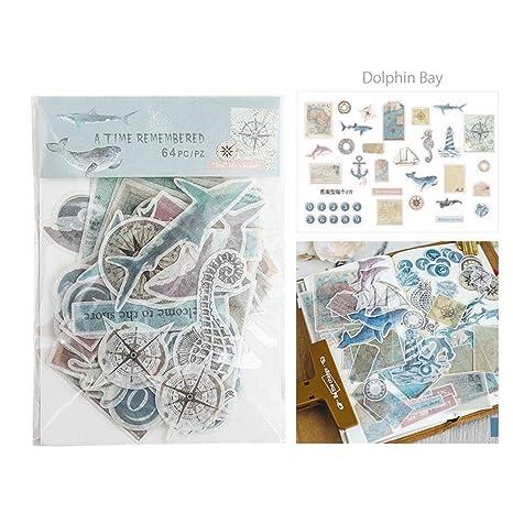 Haodou Pegatinas Decorativo Vintage Diario Carta Ingl/és Peri/ódico Papel Flor Planta Pegatinas Scrapbooking Escamas Papeler/ía