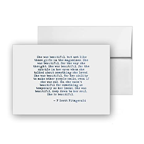Amazoncom She Was Beautiful F Scott Fitzgerald Quote Blank Card