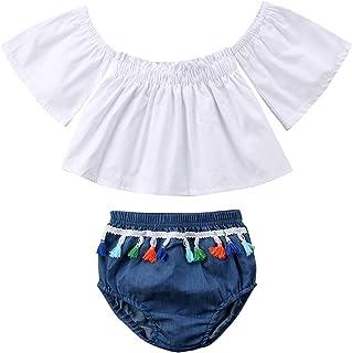 Lefyira Baby Girls Off Shoulder Tops Short Sleeve Tube Blouse+Tassel Denim Shorts Summer Outfits Set