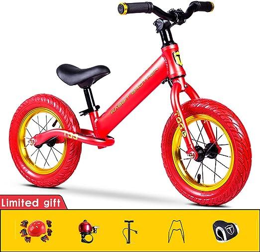 Hxx Bicicleta De Equilibrio para Niños, Bicicleta De Equilibrio De Aluminio para Niños Y Niños Pequeños Bicicleta De Entrenamiento Deportivo Sin Pedal para Niños Edades 2,3,4,5,6, Rojo: Amazon.es: Jardín