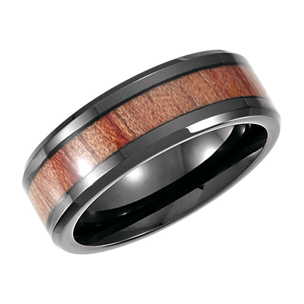Security Jewelers Cobalt 8mm Design Band with Rosewood Inlay Size 12.5 Ring Size 12.5