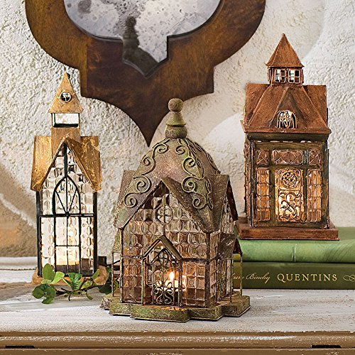 SIGNALS Set of 3 Glass and Metal Candle Lanterns - Classic European Architectural Houses