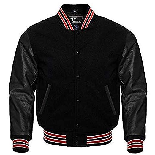 Letterman Baseball School College Bomber Varsity Jacket Black Wool