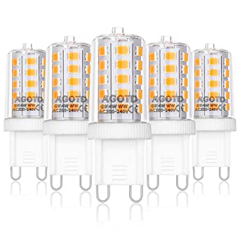 Bombillas LED G9 3W Equivale 40W Halógena, 2700K Blanco Cálido, Pack de 5