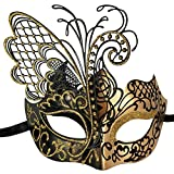 Xvevina Flying Butterfly Masquerade Mask for Women New Gold Black Sparkle Glitter Metal Venetian Party Evening Prom Ball Halloween Mardi Gras Mask (Masquerade Mask for Women)
