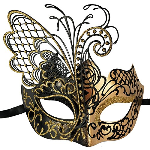 (Xvevina [Flying Butterfly Masquerade Mask for Women New Gold Black Sparkle Glitter Metal Venetian Party Evening Prom Ball Halloween Mardi Gras Mask (Masquerade Mask for)
