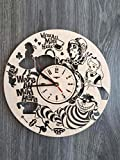 Alice in Wonderland Wall Clock Made of WOOD – Perfect and Beautifully Cut – Decorate your Home with MODERN ART – UNIQUE GIFT for Him or Her – Size 12 Inches Review