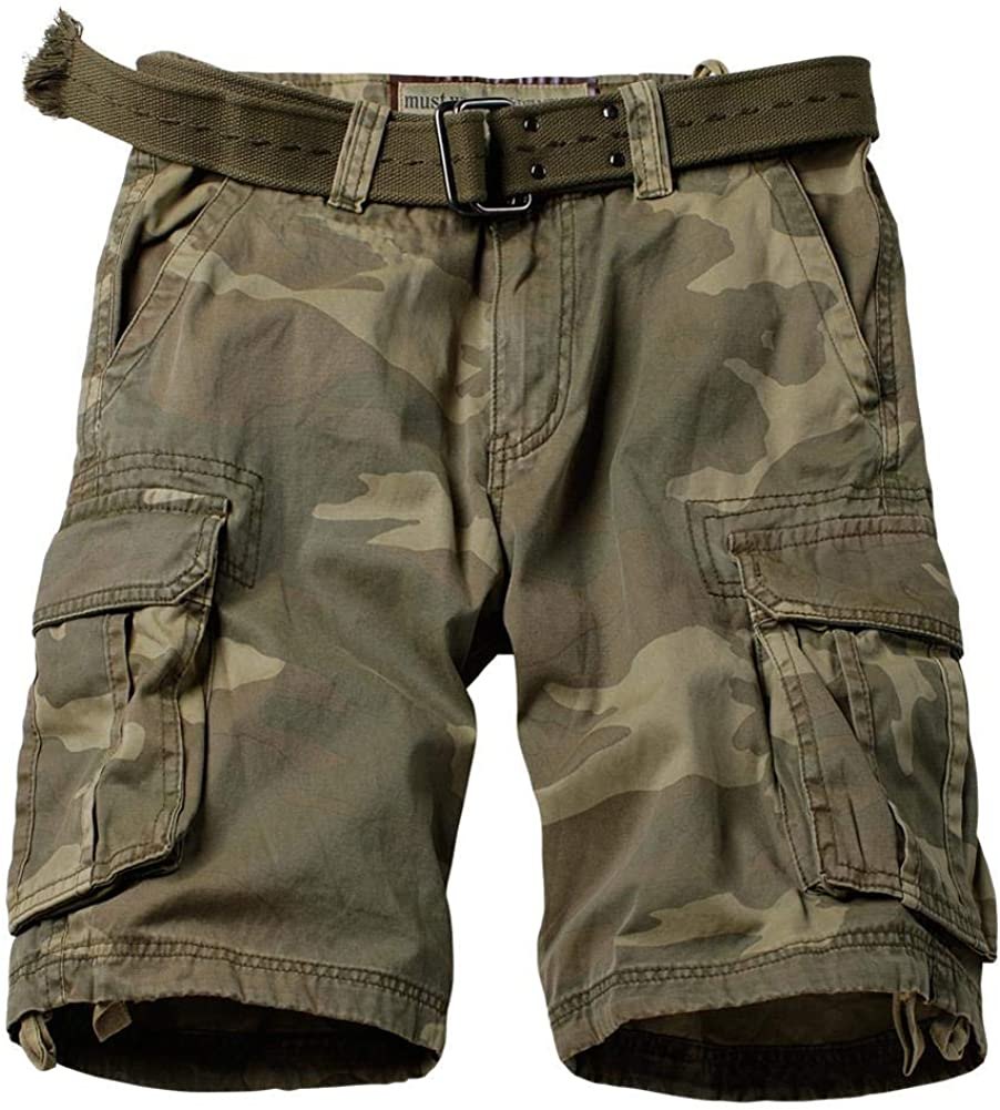 AKARMY Men's Casual Multi Pocket Outdoor Camouflage Cotton Shorts Twill Camo Cargo Shorts