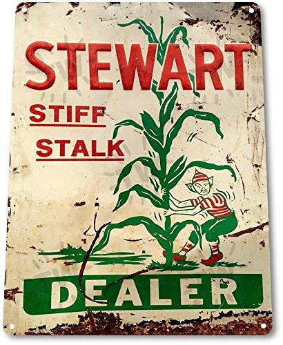 "TIN SIGN ""Stewart Dealer"" Stalk Corn Metal Decor Art Farm..."