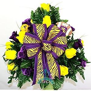 LSU Tiger Fan Cemetery Vase Arrangement 5