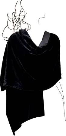 "Luxury Silk Base Velvet Stole,Pure Silk Lining,78""LX20""W, Solid Black"