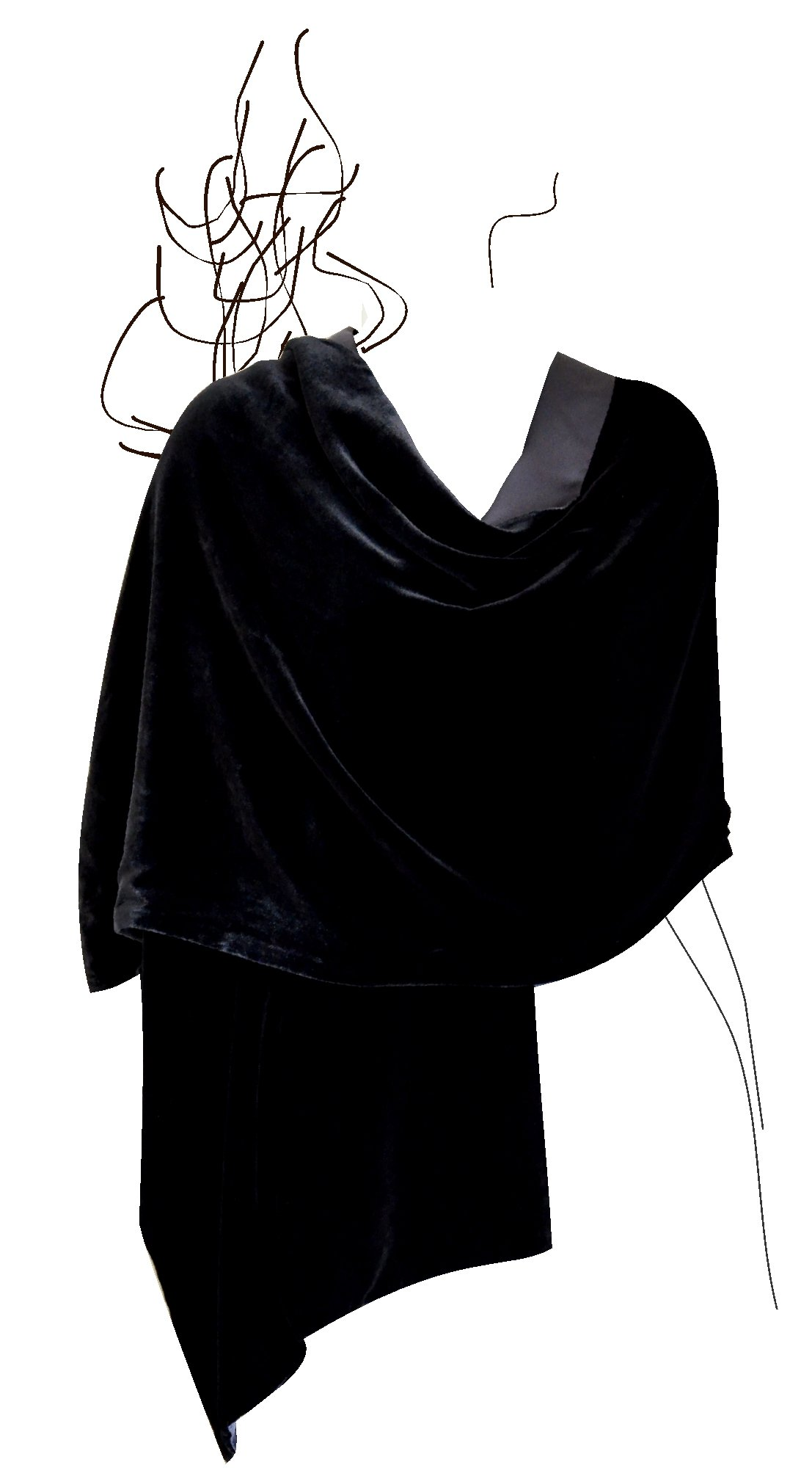 Luxury Silk Base Velvet Stole,Pure Silk Lining,78''LX21''W, Solid Black by JJ Collection