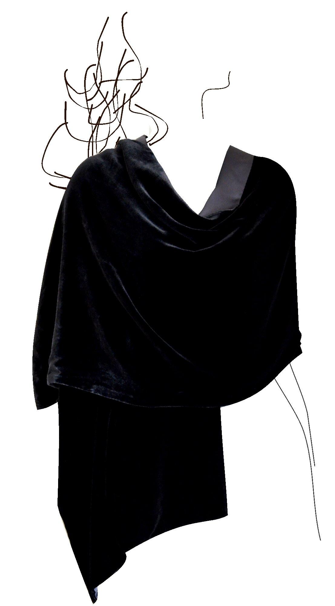 Luxury Silk Base Velvet Stole,Pure Silk Lining,78''LX21''W, Solid Black