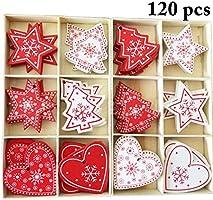 Outgeek 120PCS Natale Appeso Ornamento Fai da Te Artigianale in Legno Decorazione Appesa