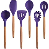 Purple Cooking Utensils, 6 Pieces Natural Wooden Kitchen Utensil Set BPA Free - Silicone Nonstick Heat Resistant Cooking Tools by Maphyton