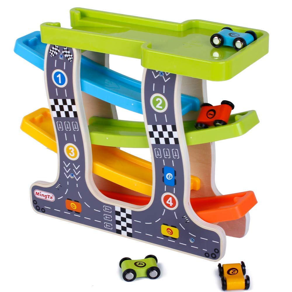 bodolo Wooden 4-Channel ramp Race Track Tower Games with 4 Sports car Toy Set for Children and Toddlers