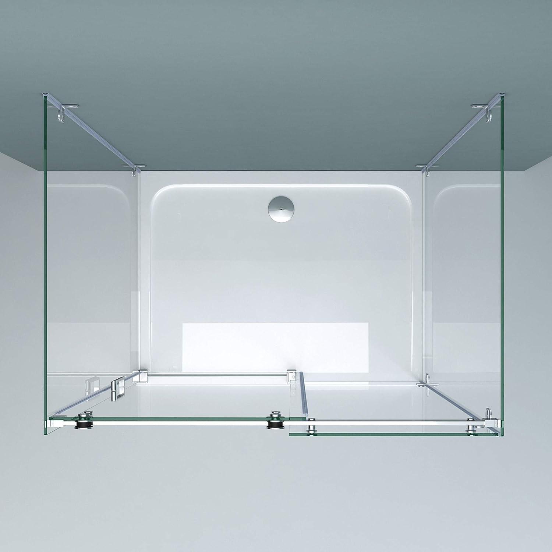 doporro Cabina de ducha en forma de U diseño Ravenna17-2, 80x140x195cm con puerta corrediza divisora y vidrio templado de seguridad transparente   Fijación de 4 puntos.: Amazon.es: Bricolaje y herramientas