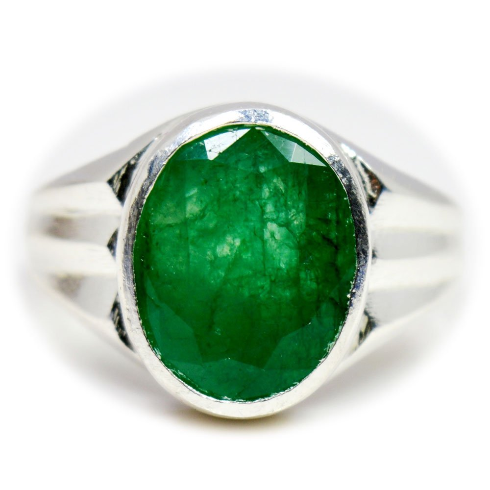 55Carat Genuine Emerald Silver Ring For Men 7 Carat Oval Shape Birthstone Size 5,6,7,8,9,10,11,12,13